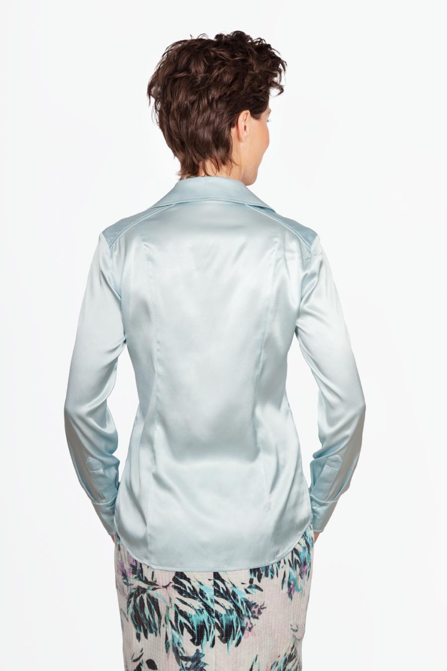 Zijden Cashmere Blauwe Blouse - Achterkant