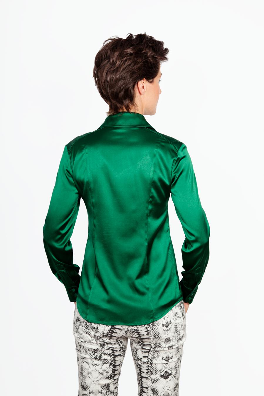 Zijden Groene Blouse - Achterkant