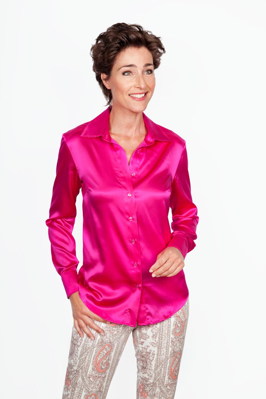 Zijden Roze Blouse