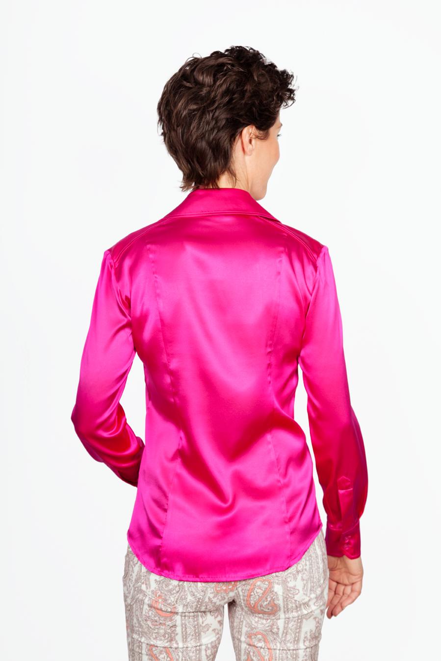 Zijden Roze Blouse - Achterkant